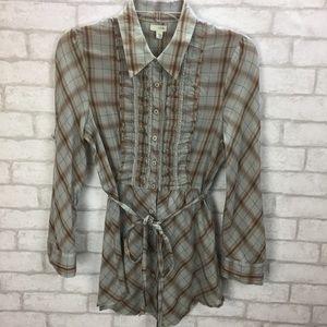 Odille sz2 Gray long Sleeve Blouse